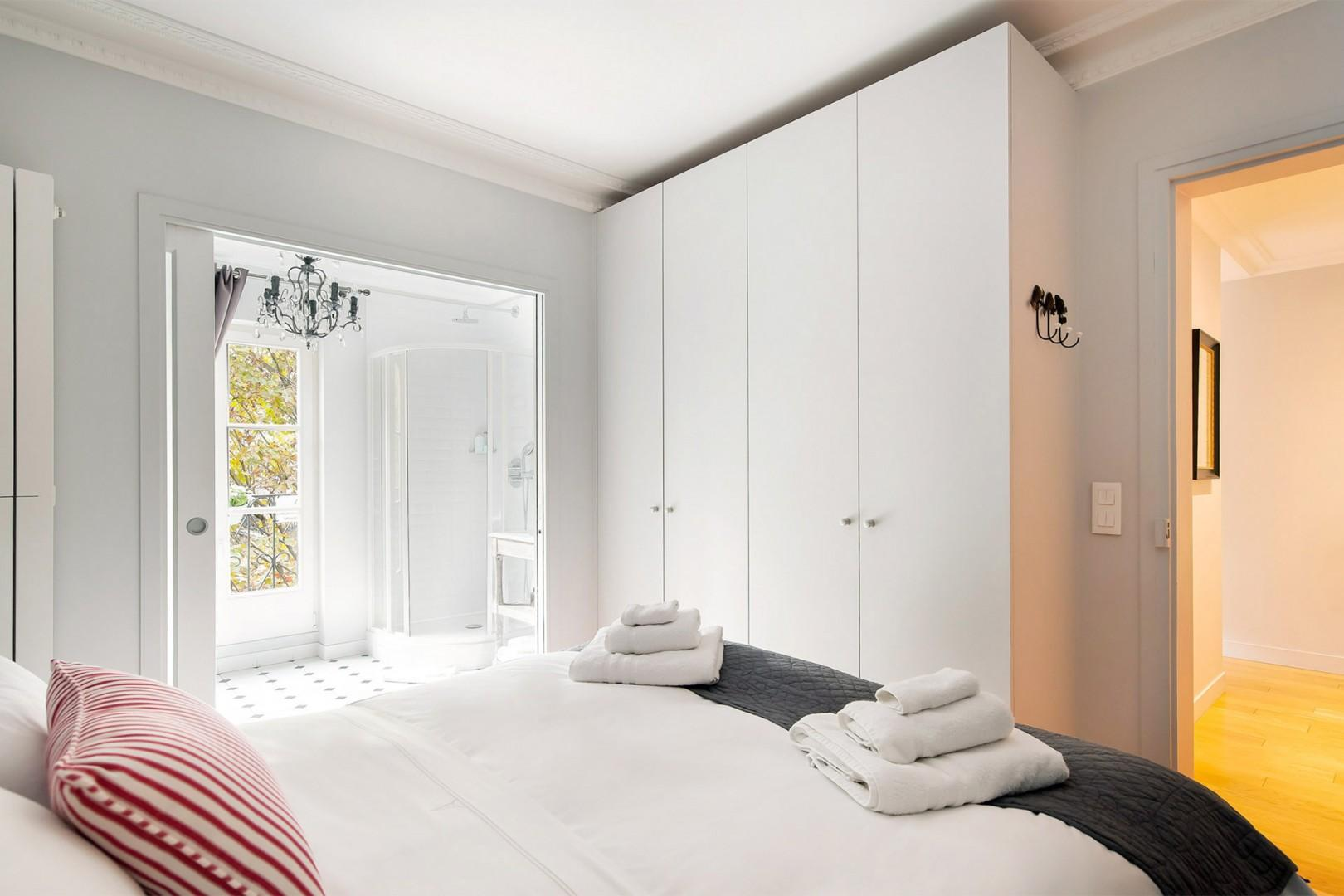 Take advantage of the large built-in closets to store your belongings.
