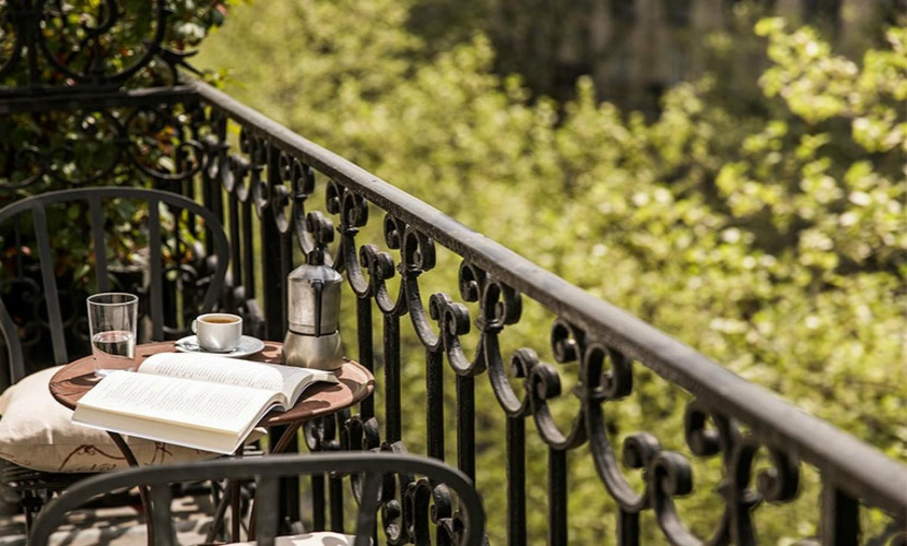 Relax on the balcony with a book and freshly brewed coffee.