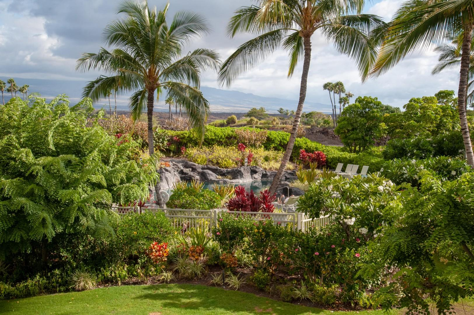Gorgeous View from Master Lanai Overlooking Pool & Mountains