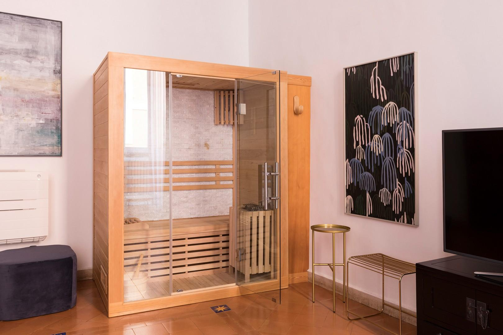 Special feature of this room is the private sauna!