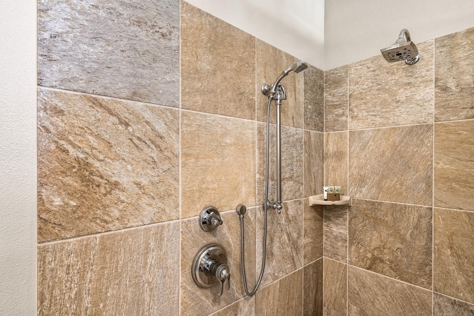 Walk in shower in the Master bathroom