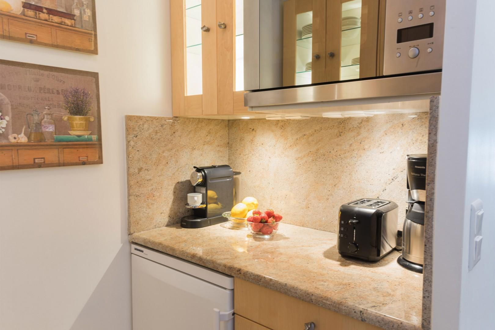 The kitchen is fully equipped, so you can prepare gourmet meals.