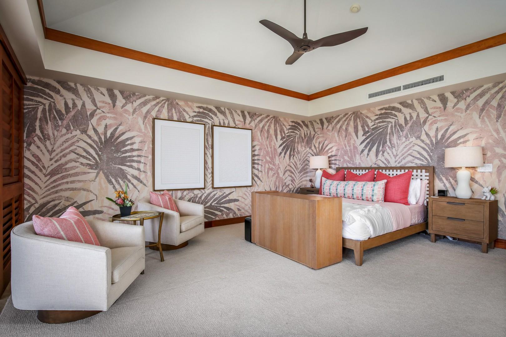 Master bedroom suite with king bed, private lanai, ocean views and en suite bath.