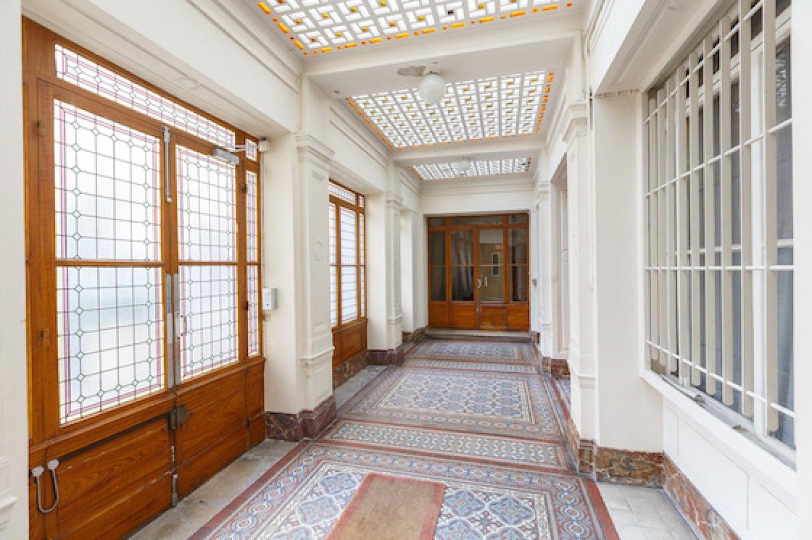 Enter through the stylish foyer.