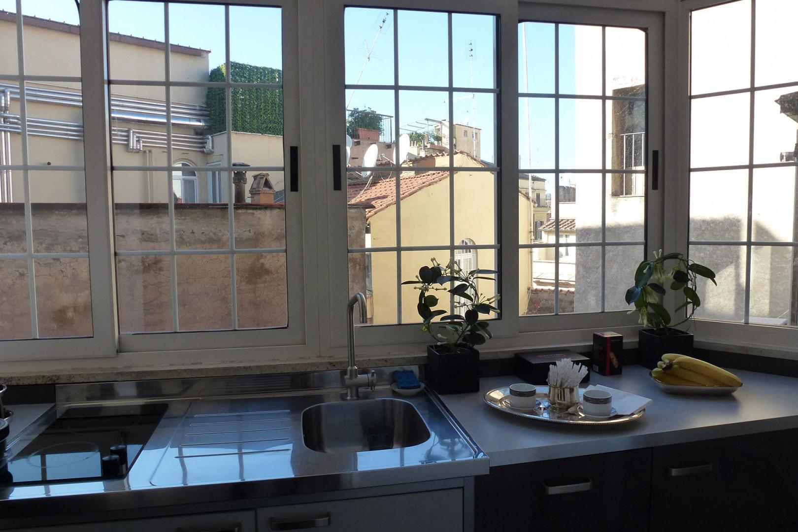 Bright kitchen has nice views too.