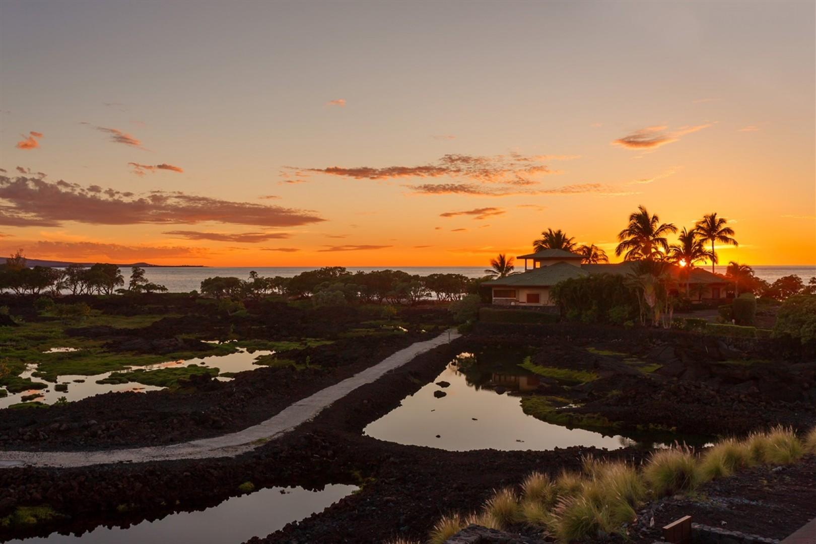 Sunset view of fish ponds with ocean beyond.