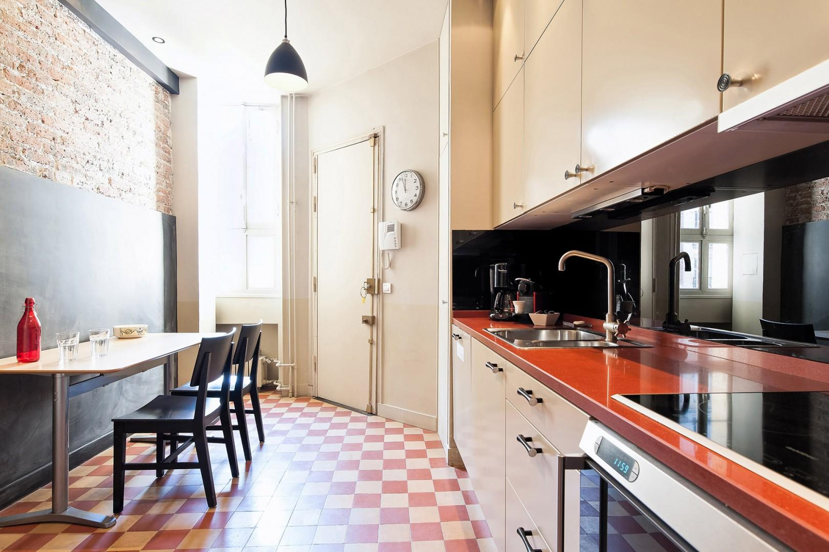 The eat-in kitchen is perfect for families.