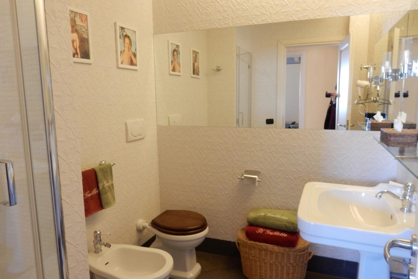 En suite bathroom has large shower, toilet, sink, bidet.