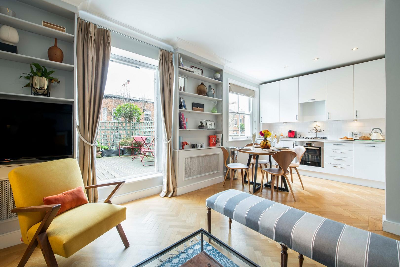 Bright and airy open plan living with great terrace views
