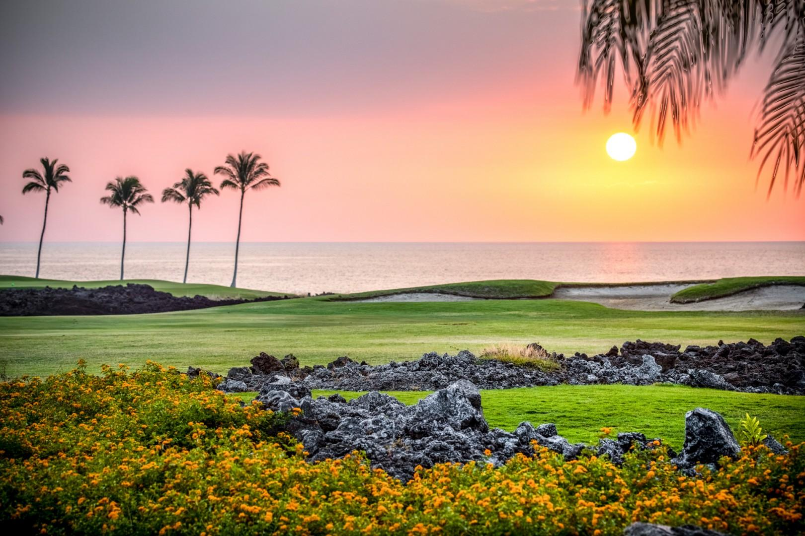 Take in the gentle sway of the palm trees and the sun dipping below the horizon from your slice of paradise.