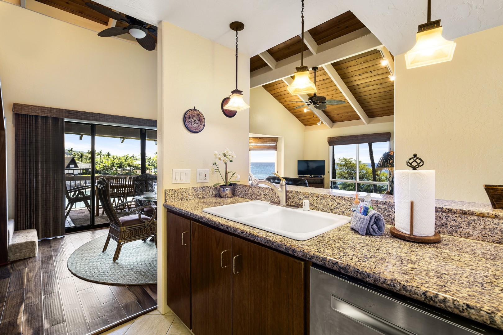 The whole group can be a part of conversation from this open style kitchen