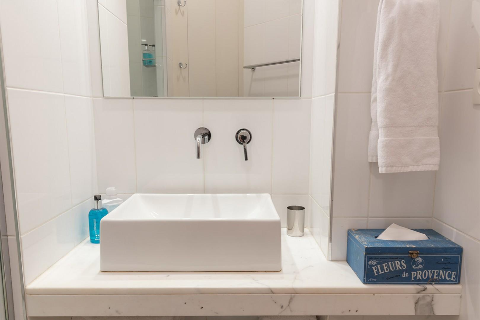 Enjoy the stylish touches and bathroom amenities.