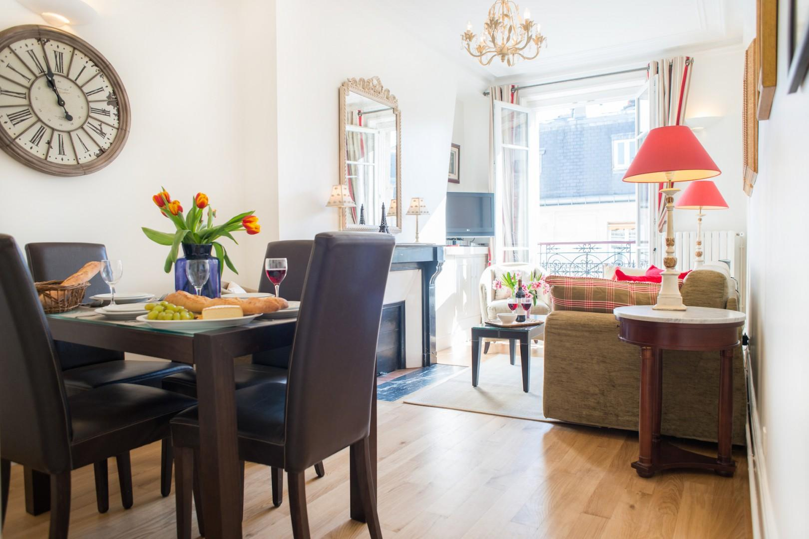 Bright open-plan dining area and living room