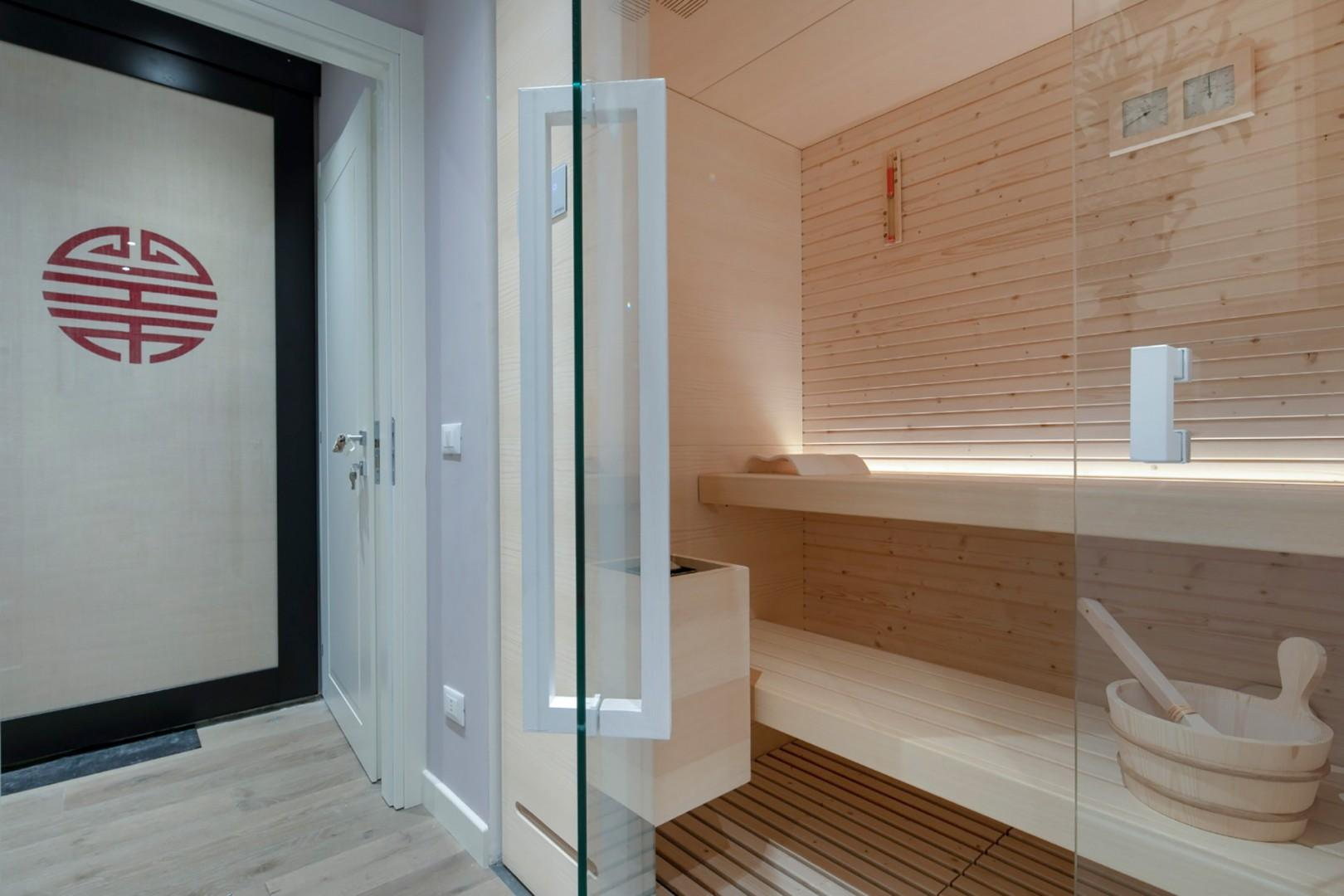 Relax and revitalize in the private sauna.