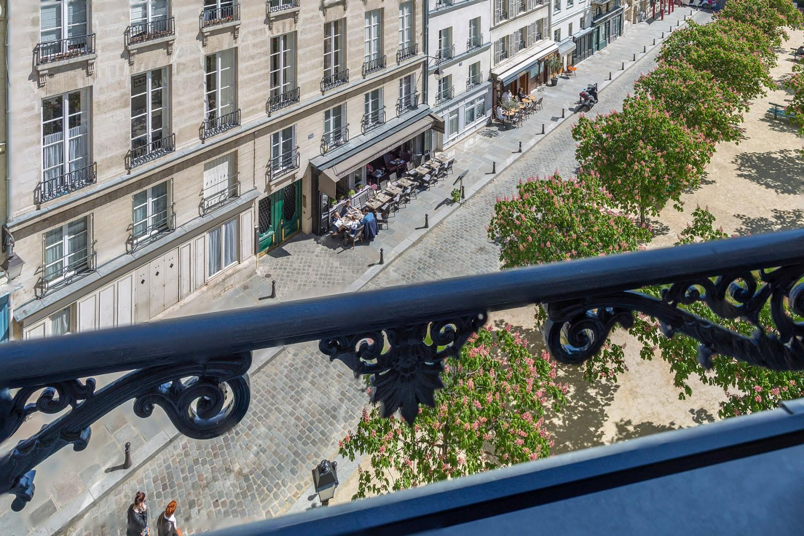 View of Place Dauphine from Monbazillac's bedroom