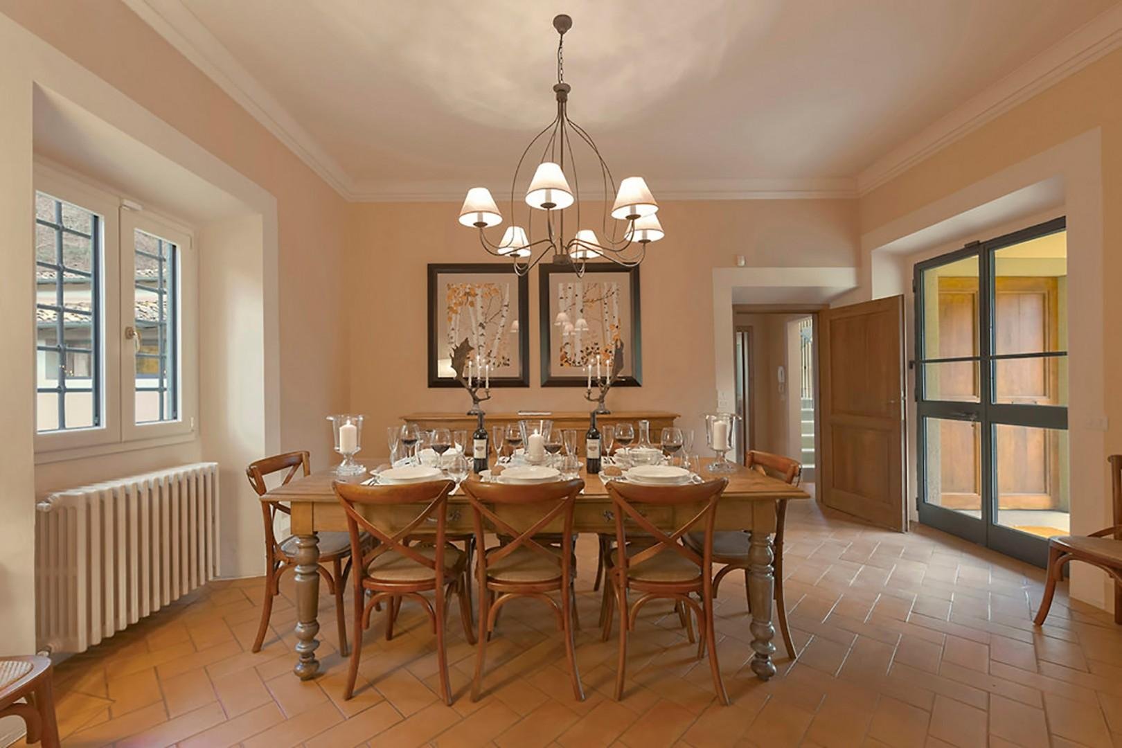 Dining table seats 8.