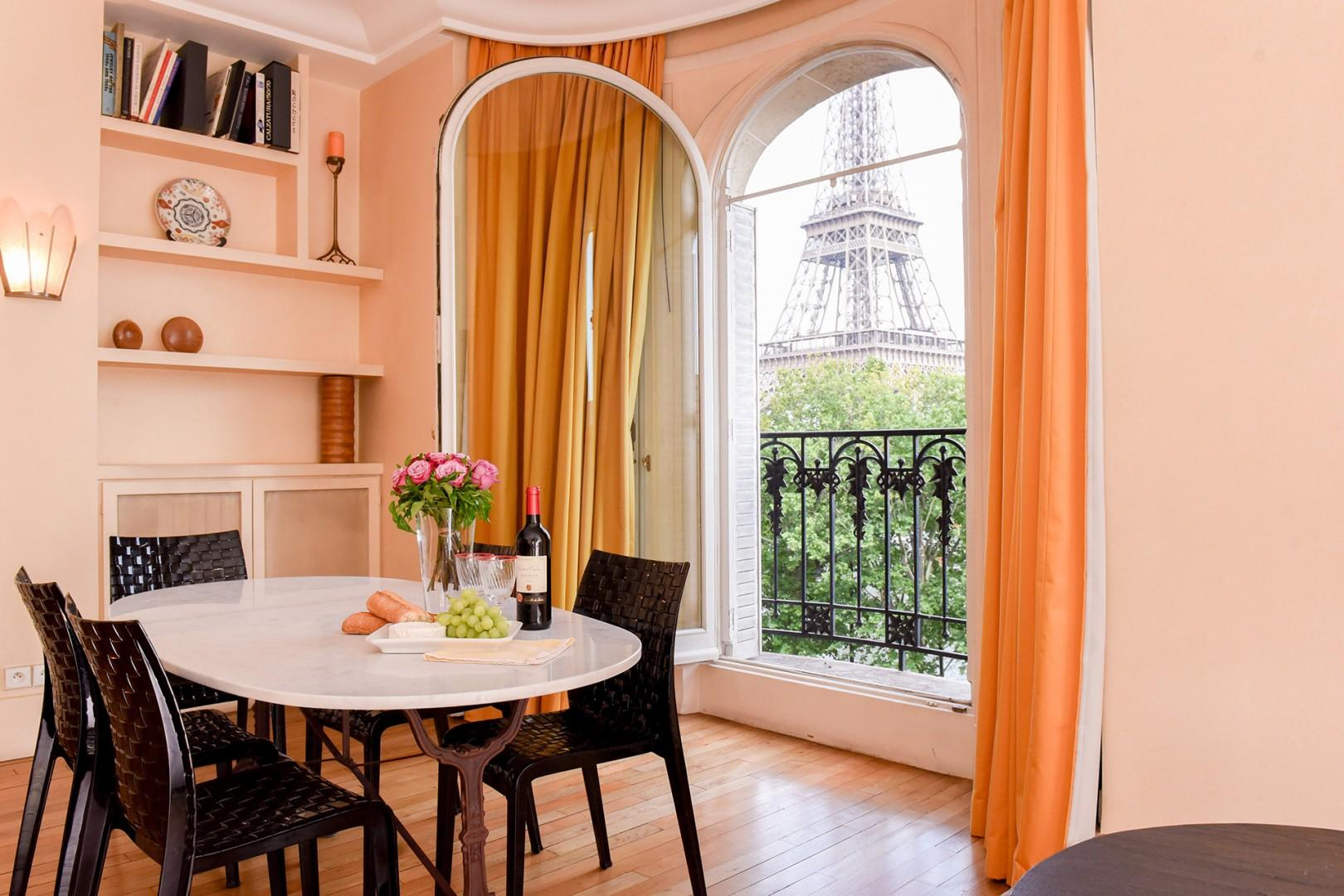 Welcome to the lovely Roussanne with stunning Eiffel Tower views!