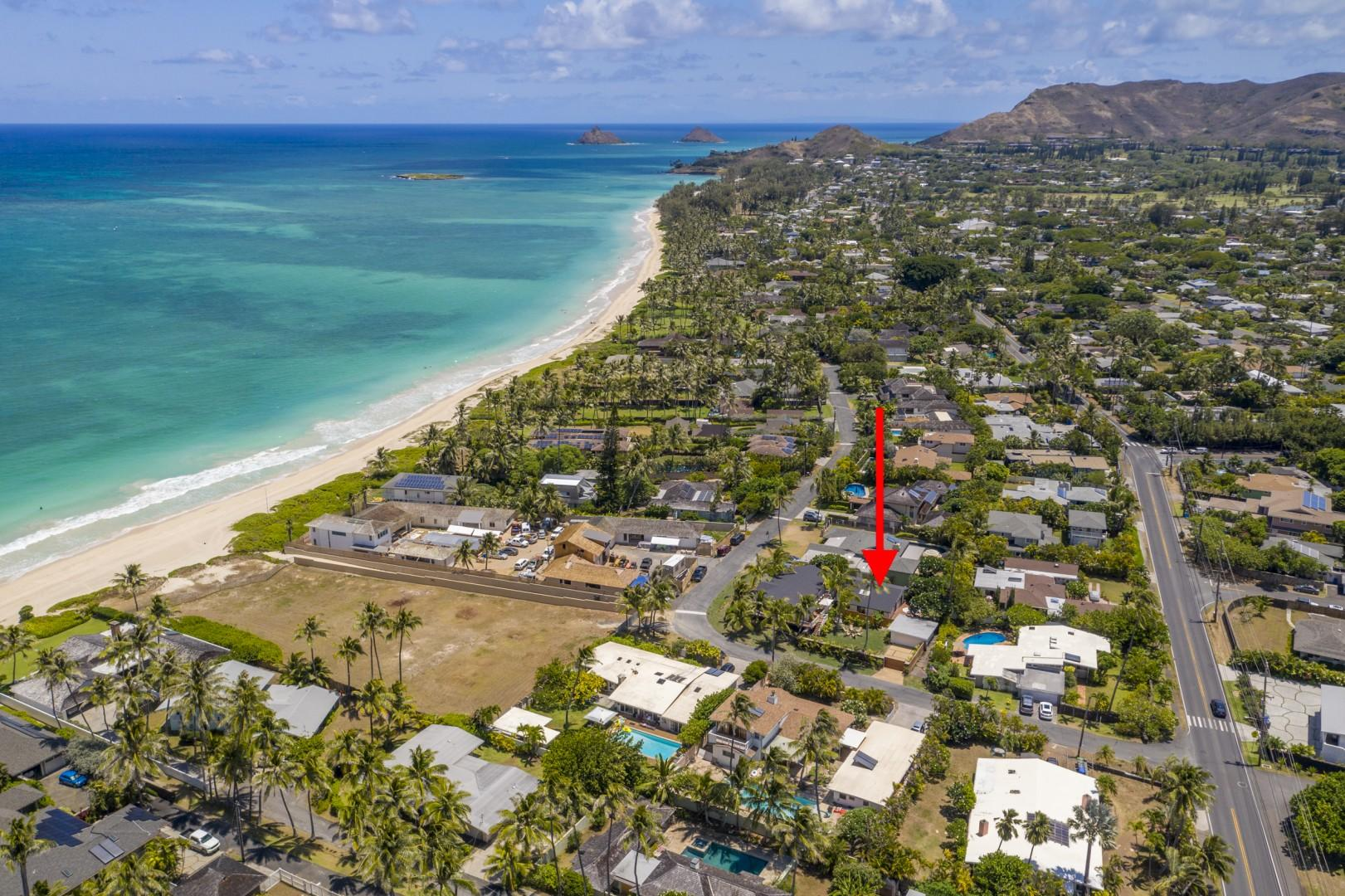 Great location, only a few steps away from the amazing Kailua beach.