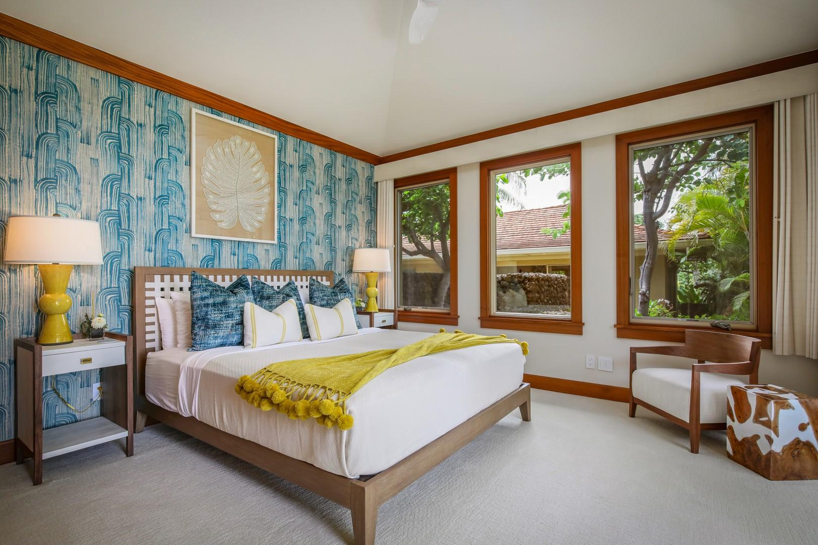 Guest Room 2 with king bed, ocean views, Smart flat screen television and en suite bath.