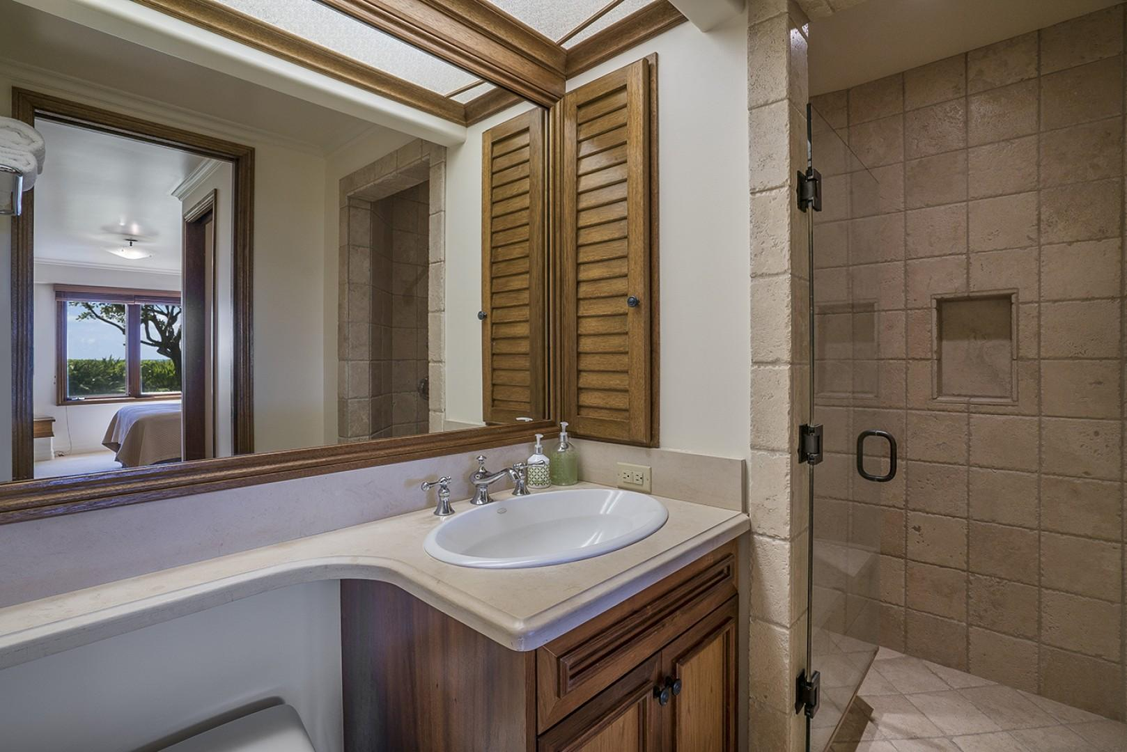 Main house: Guest Bedroom 1 ensuite bathroom with walk in shower.