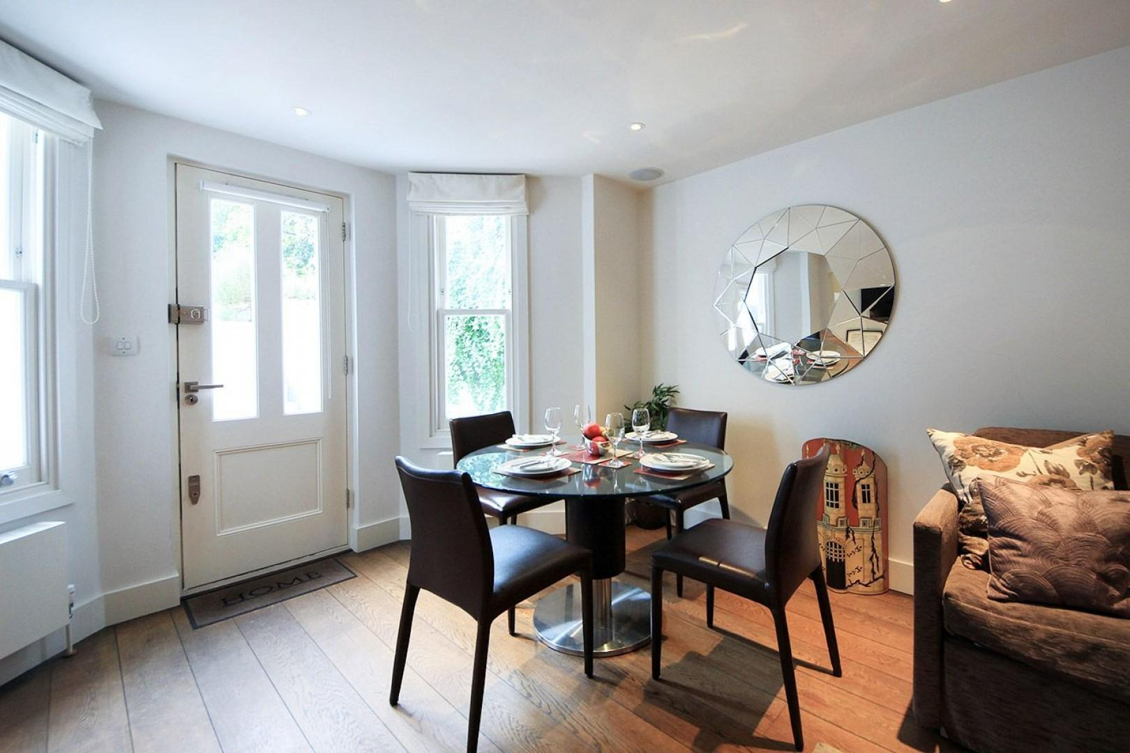 Step into the spacious and lovely dining and living area