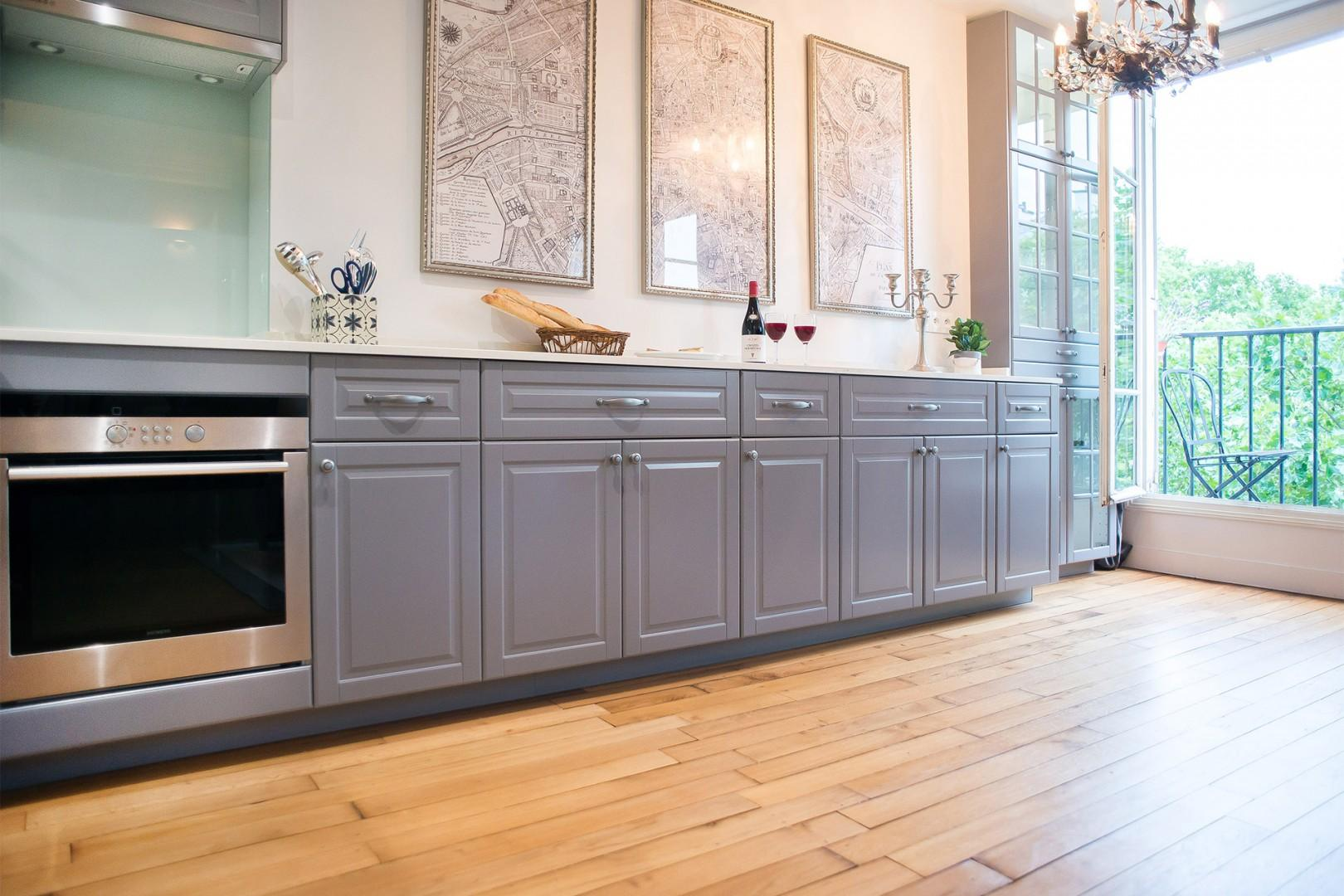 The cleverly designed open-plan kitchen offers lots of counter space and storage.