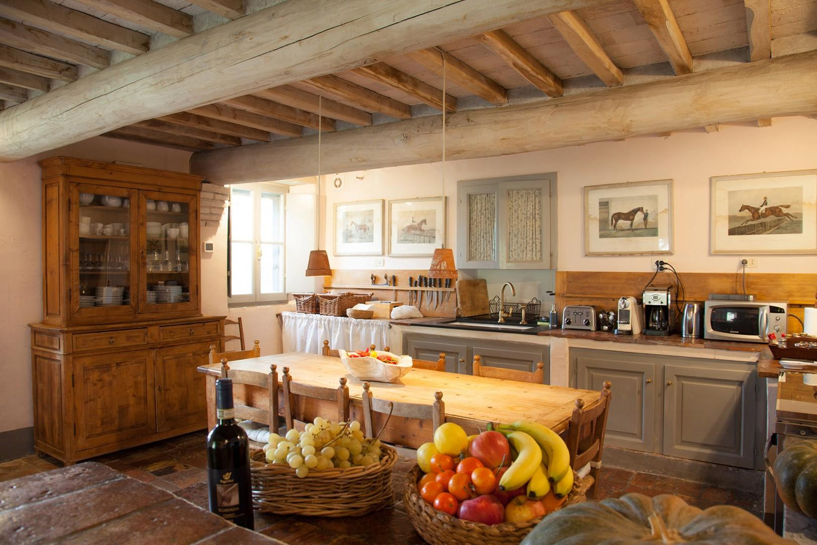 The eat-in kitchen is wonderful. Large and fully furnished, even serious cooks will be happy!