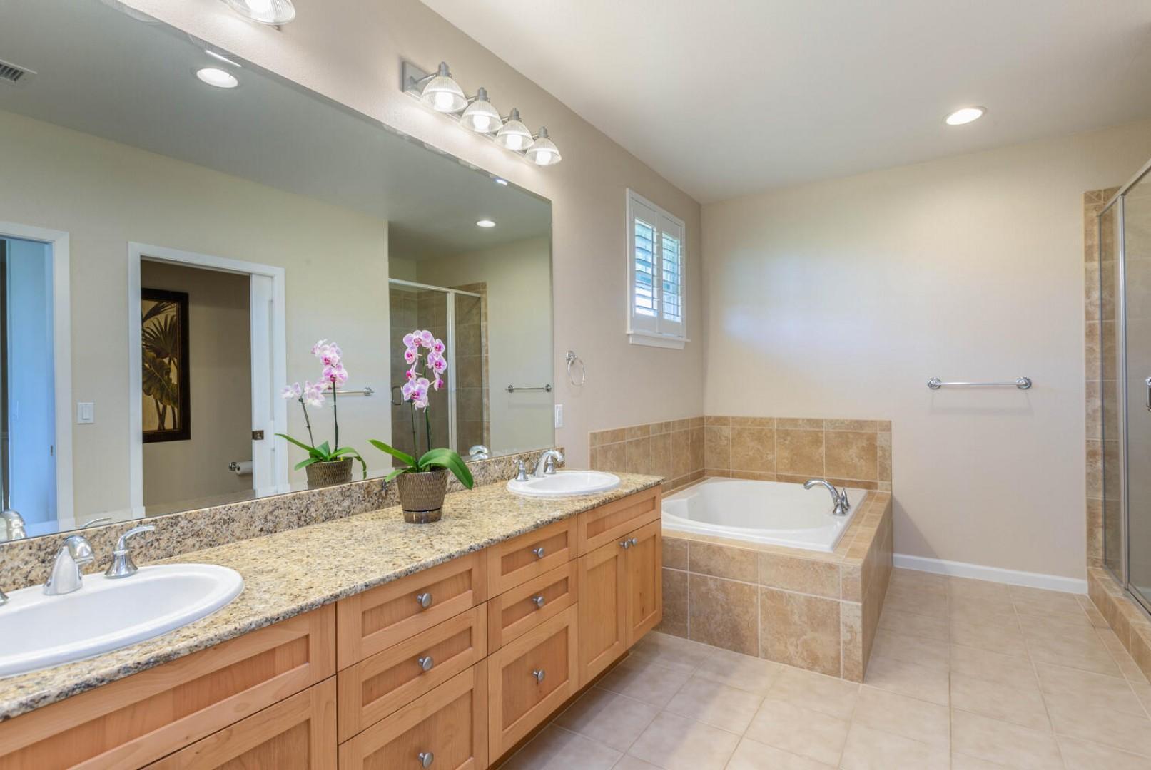 Ensuite Master Bathroom with double vanity sinks