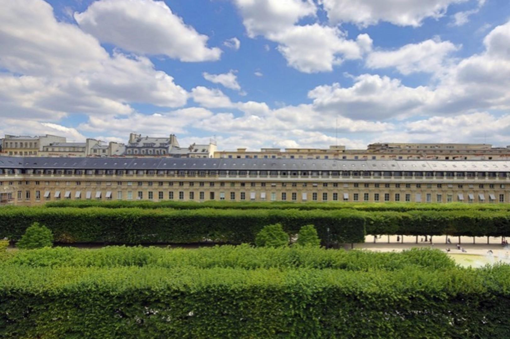 Stunning views of the Palais-Royal gardens from the balcony.