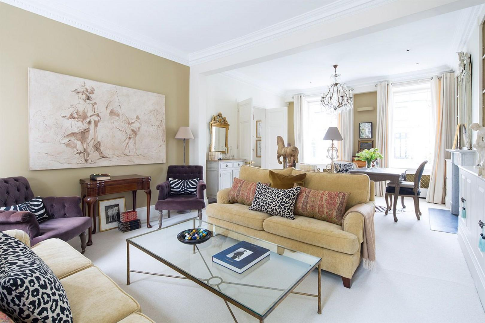 Finely appointed living room with beautiful light