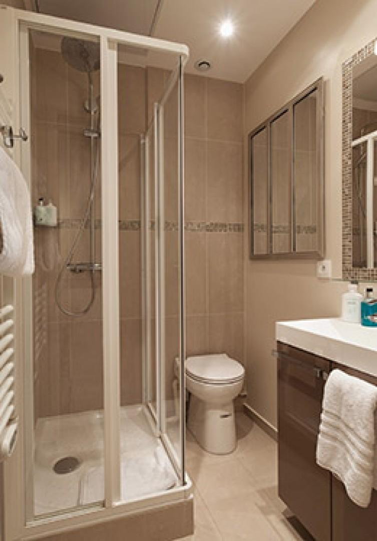 Shower with fixed and flexible shower heads