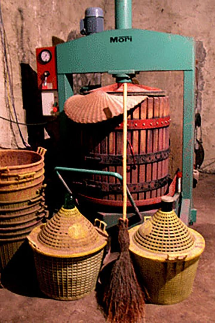 Grapes grown onsite are pressed in the cantina of Casa Rossa for Chianti.