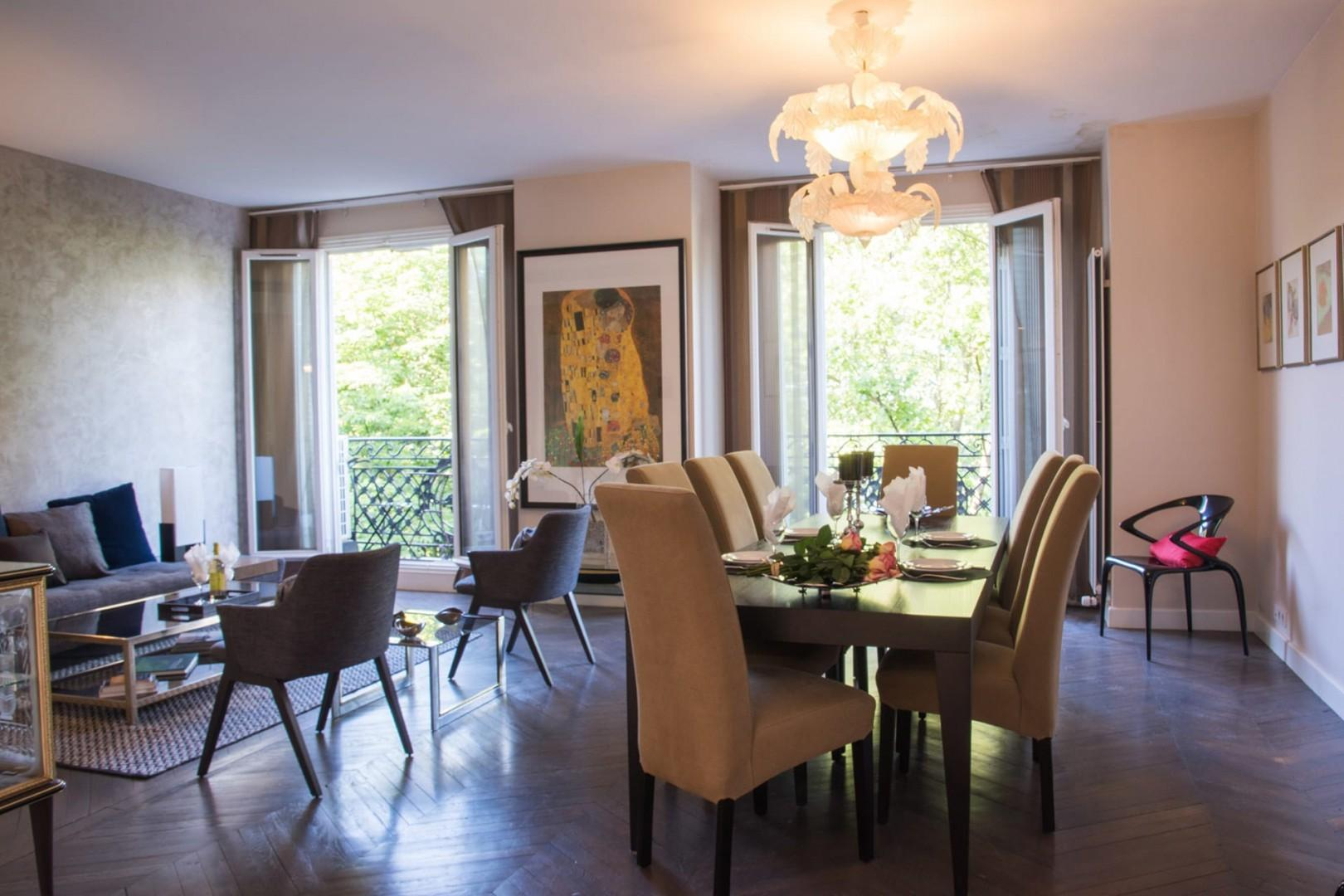 The grand French-style double living room is perfect for relaxing.