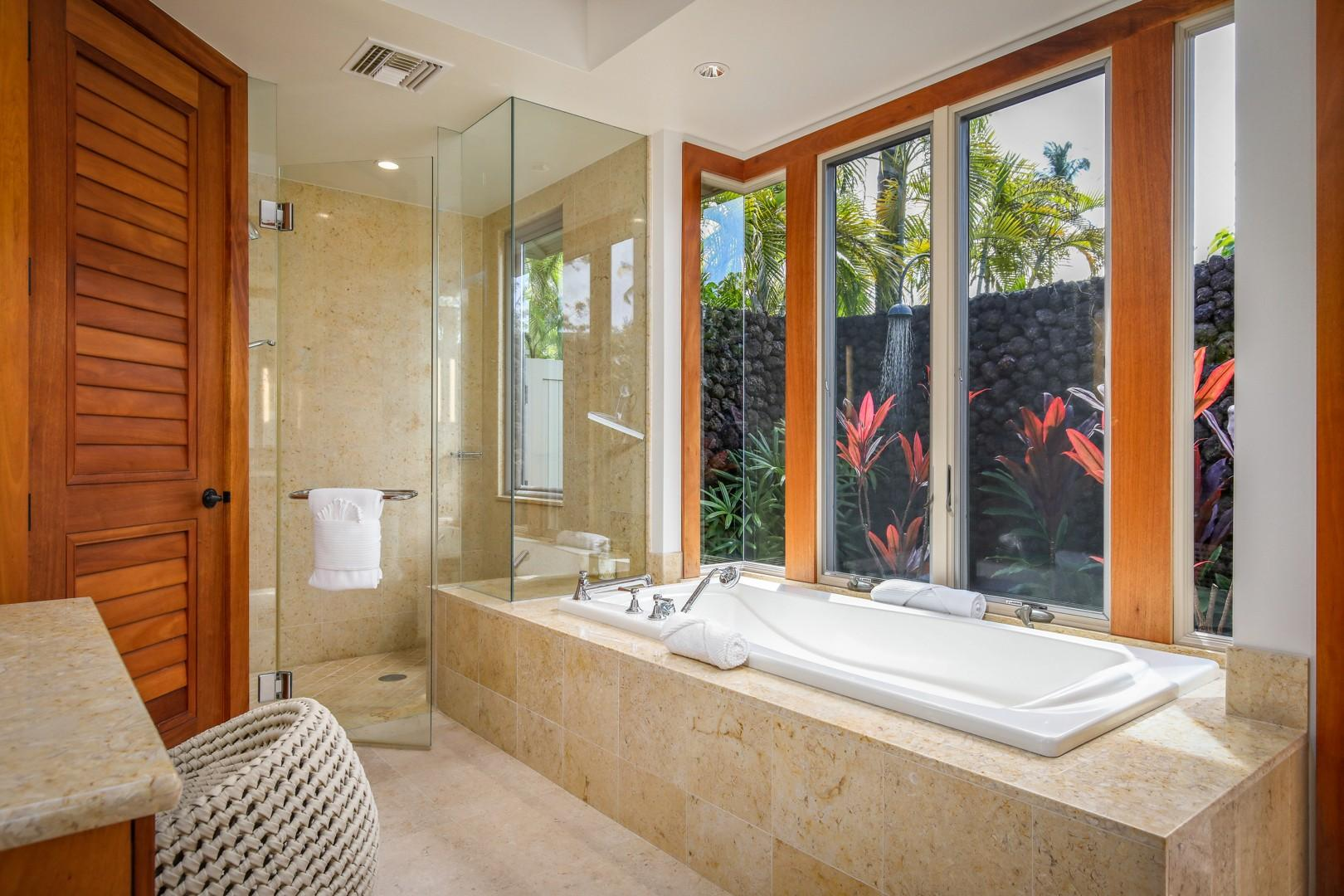 Soaking tub and walk-in shower.