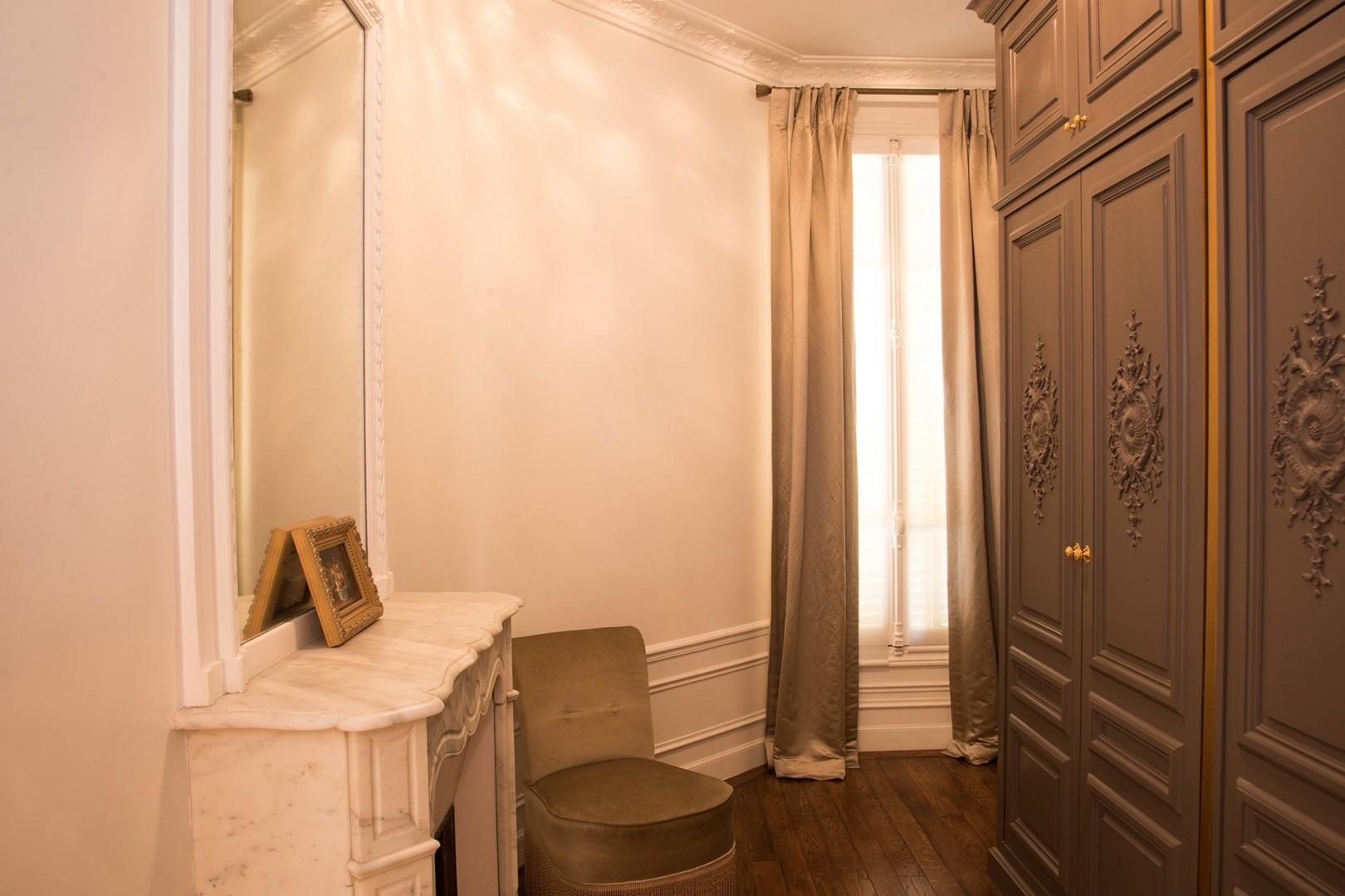 The apartment feature a rare, spacious dressing room.