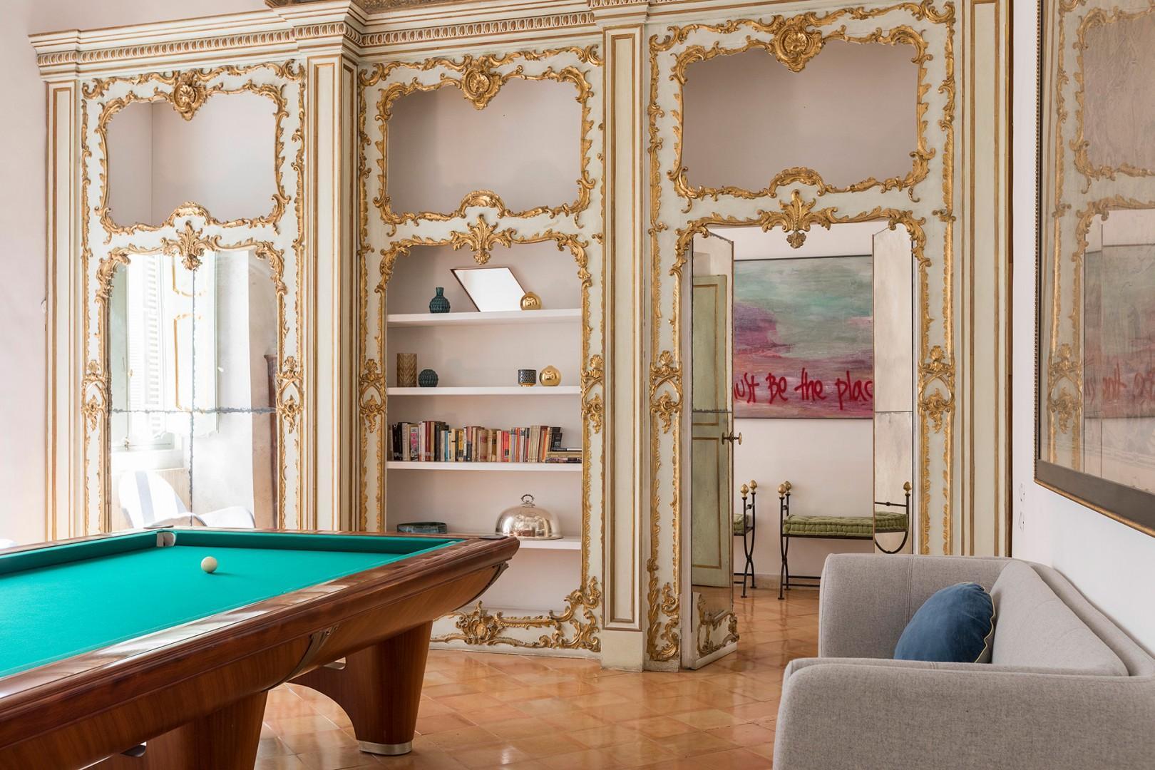 Billiard room view towards door.