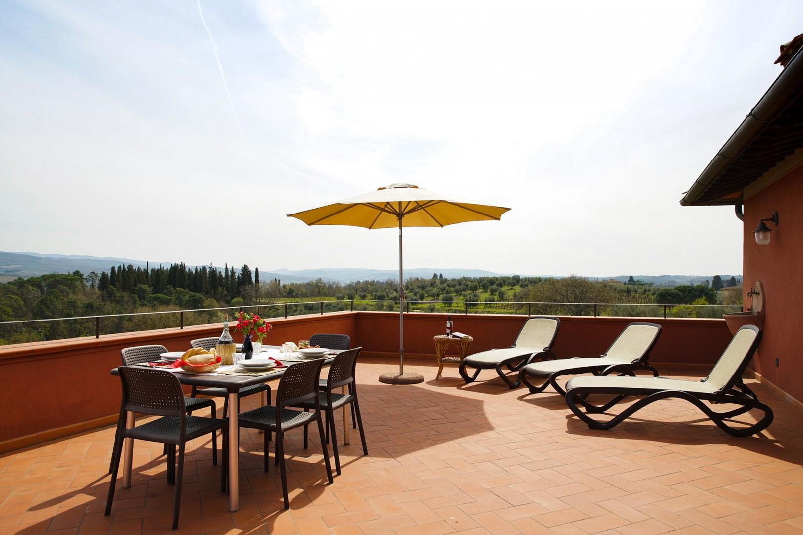 Relax on the large terrace with views galore.