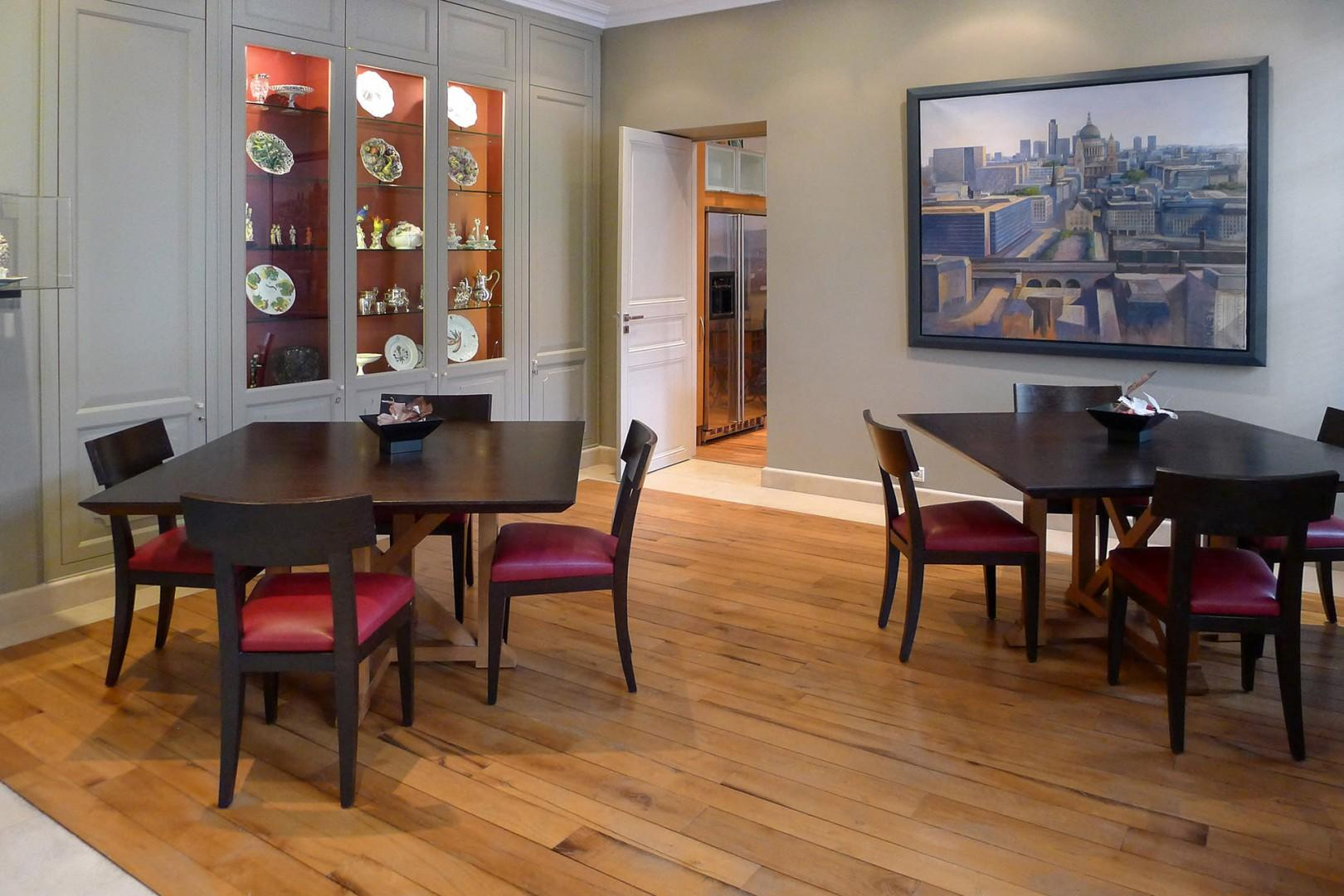 The large dining room with two tables is perfect for entertaining.