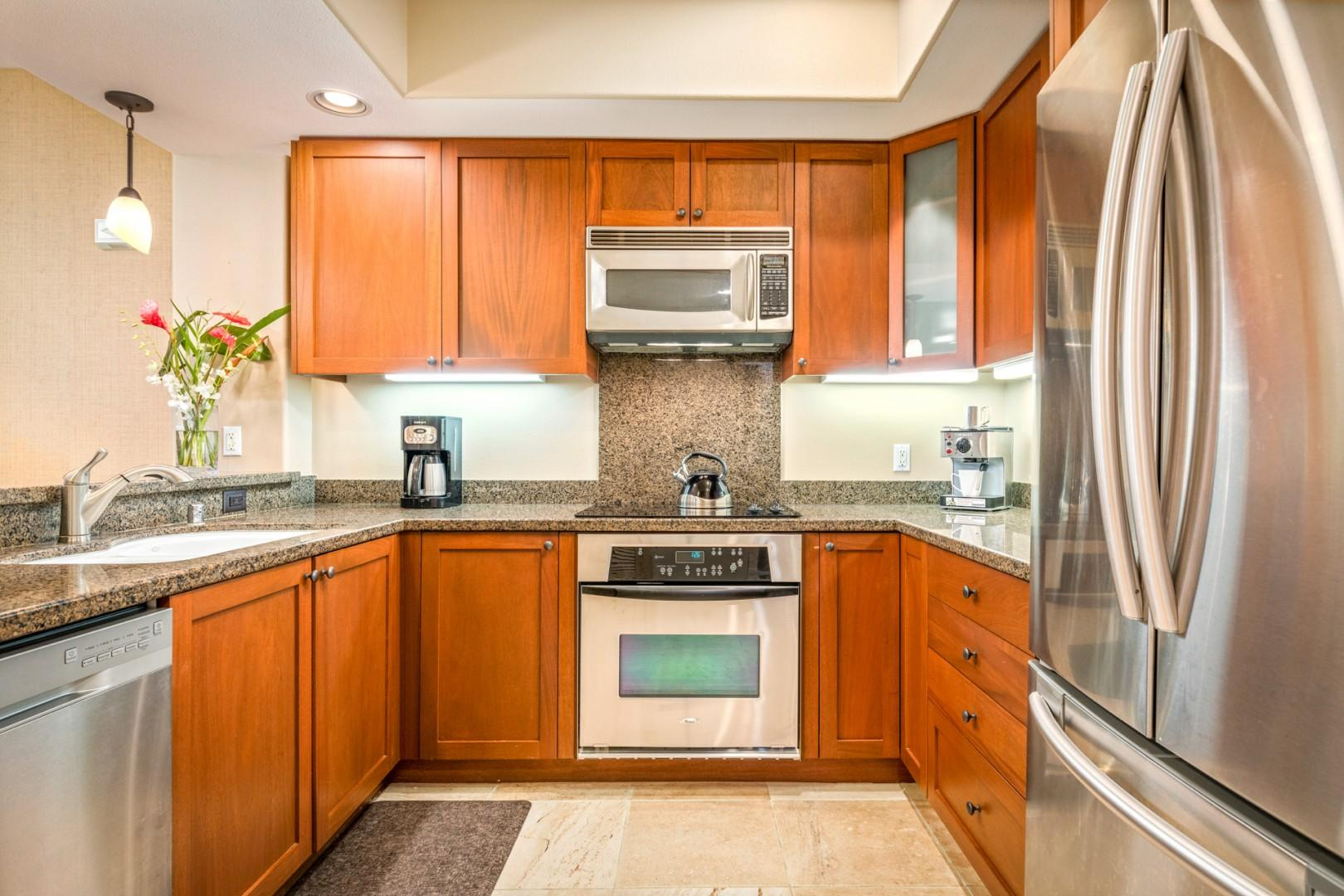 Gleaming and fully equipped kitchen, perfect for making meals at home.