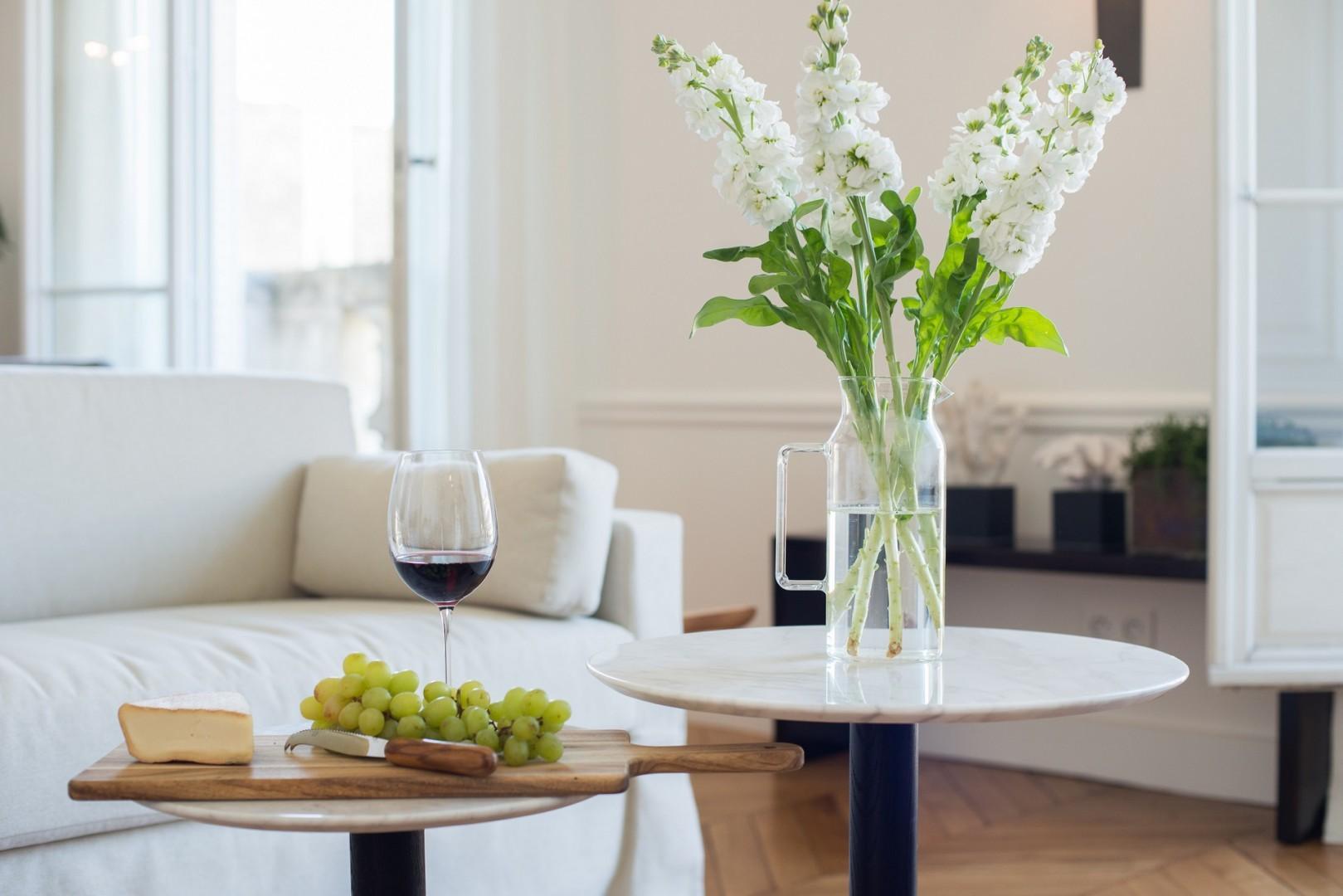 The apartment exudes Parisian elegance and charm.