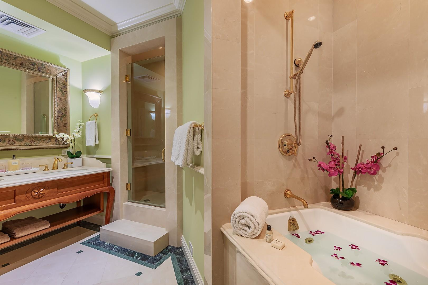 Guest Bathroom with Double Sink, Shower and Jacuzzi Tub