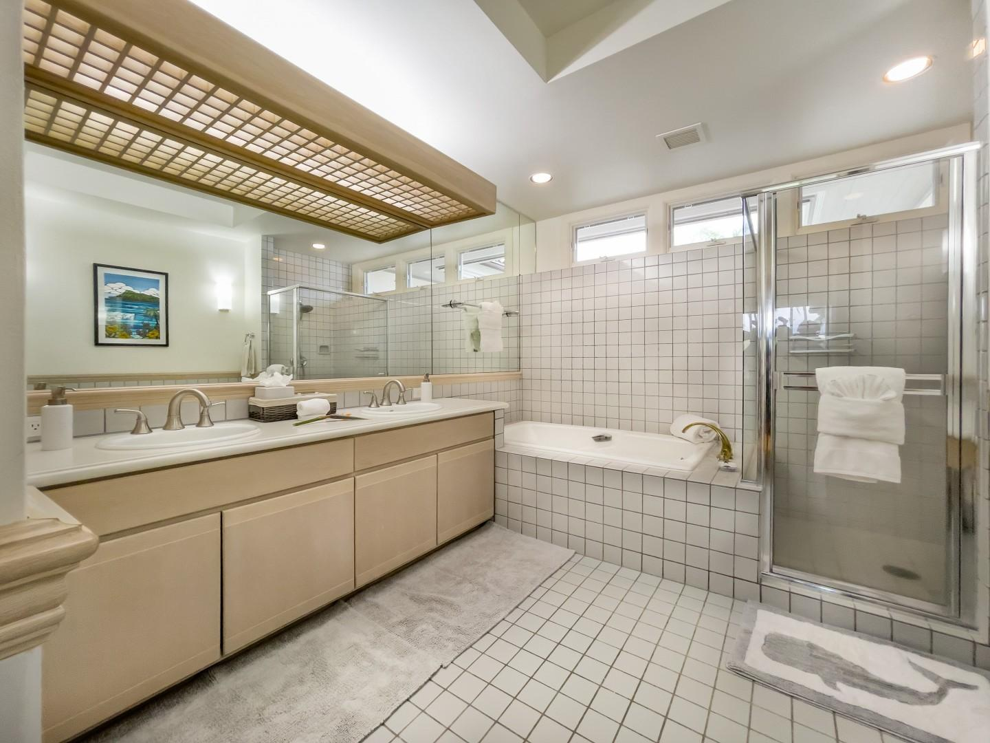 Large Tiled Bathroom w/ Separate WC Ensuite to Second Bedroom