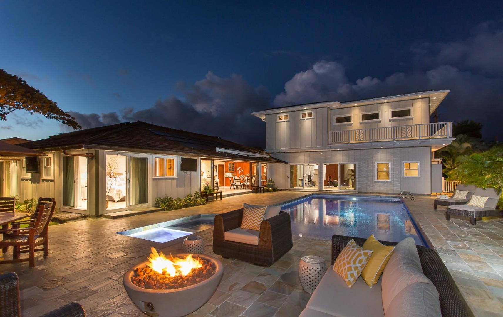 Sit back, relax, and enjoy the beautiful Kahala Alii amenities, including a barbecue grill, new saltwater pool and spa, outside living spaces, fire pit, and tiki torches!