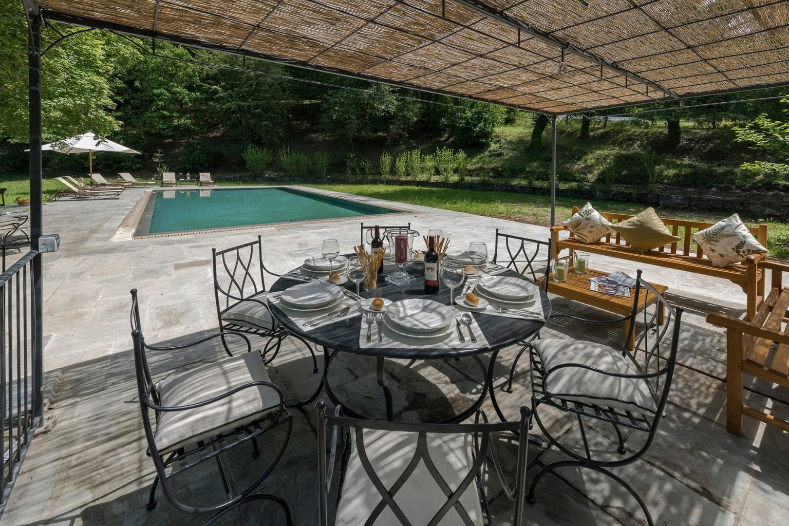 Enjoy a poolside lunch on a warm summers day.