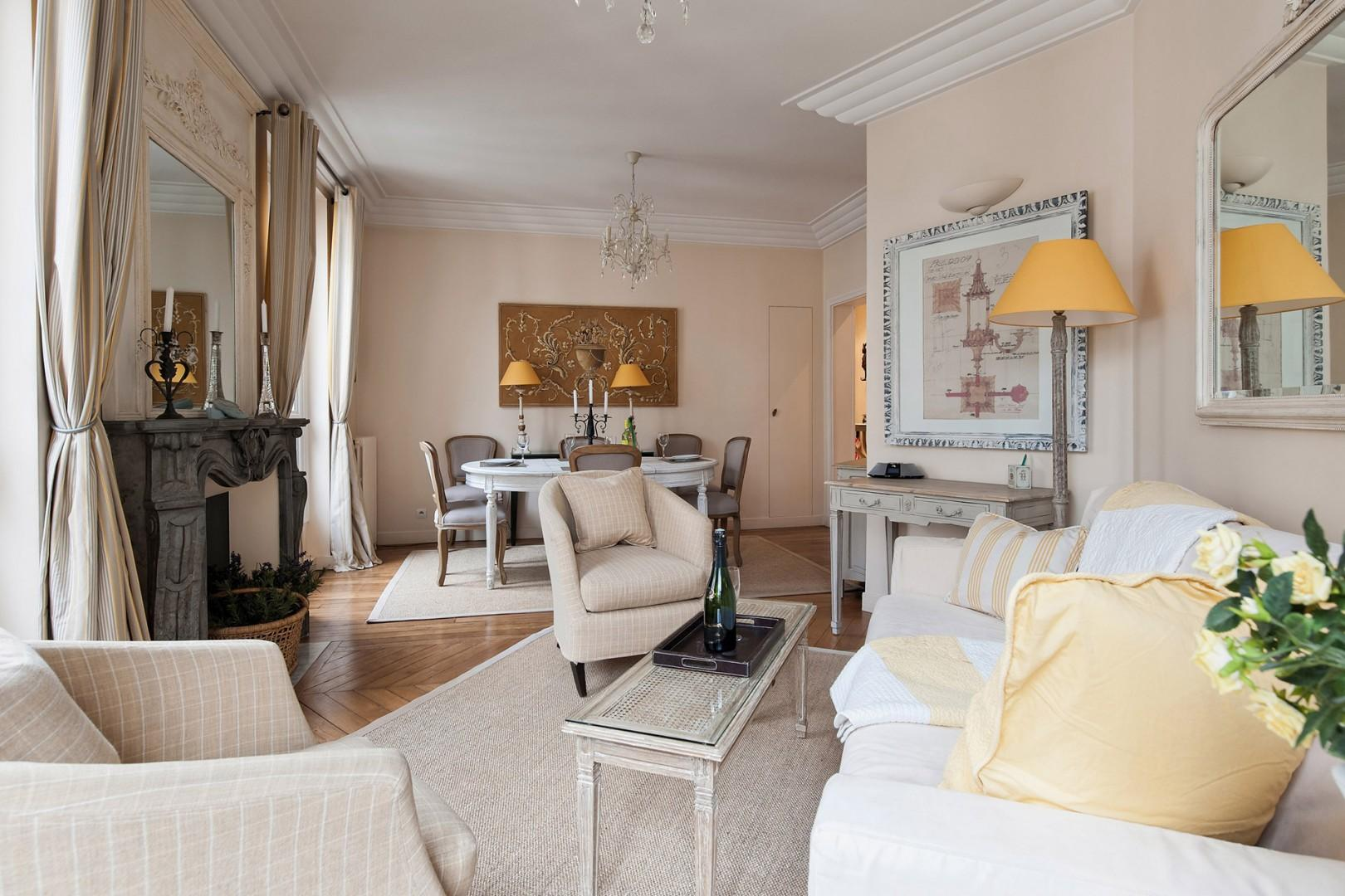 Relax in the bright double living room with an elegant dining area.