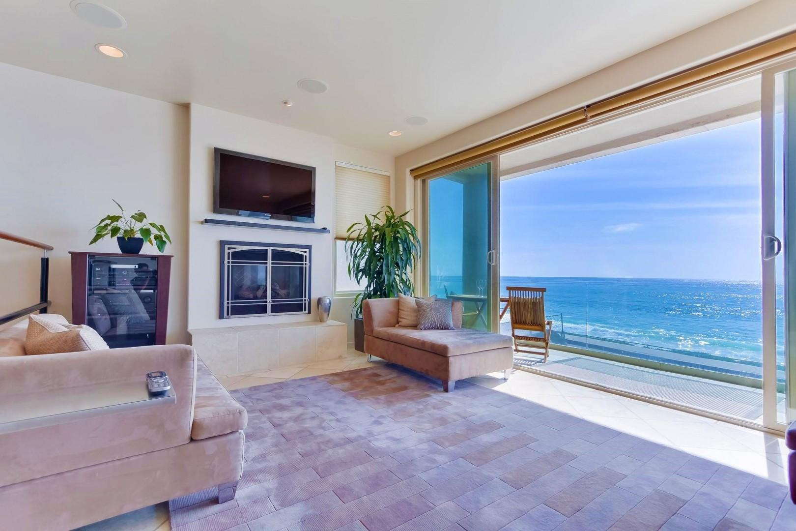 Ocean and beach views from living room