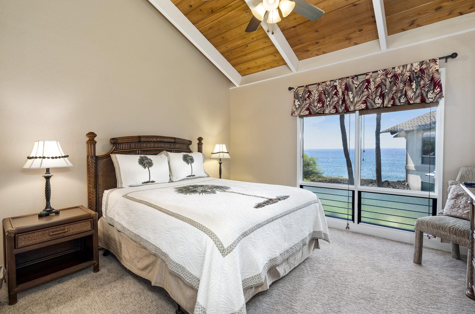 Guest bedroom with stellar ocean views! Queen bed, TV, and A/C