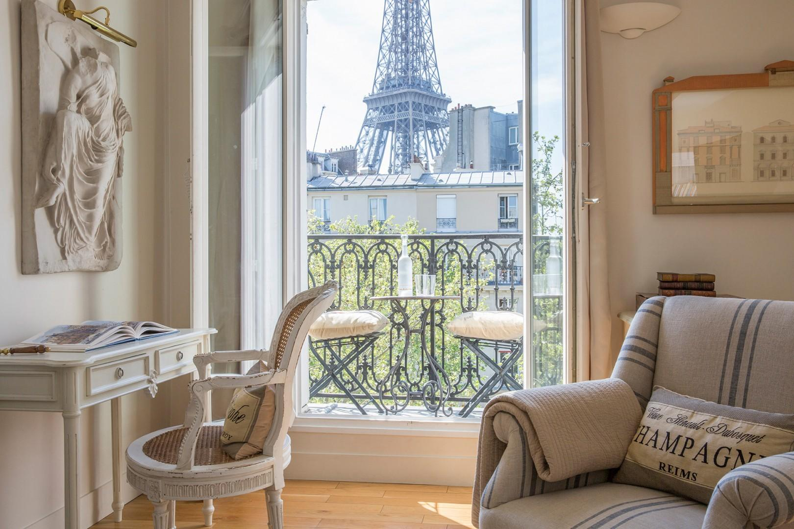 Sit back and relax with this view of the Eiffel Tower.