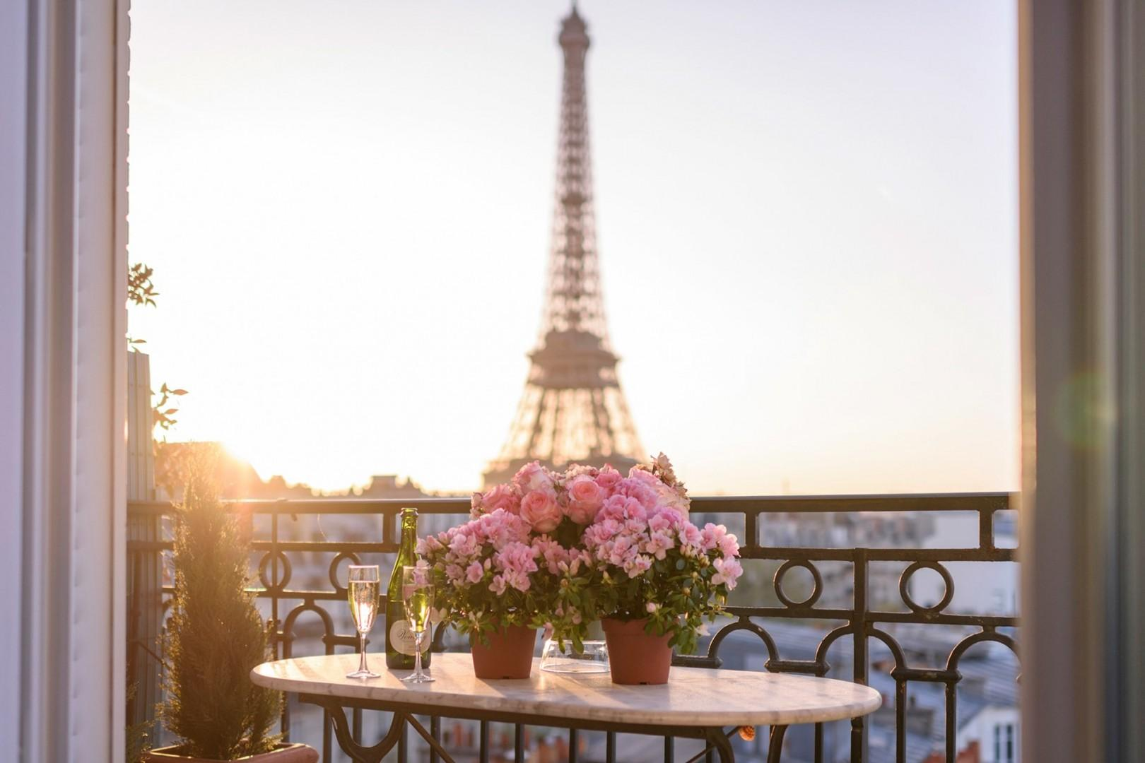 Enjoy these stunning Eiffel Tower views right from your balcony.