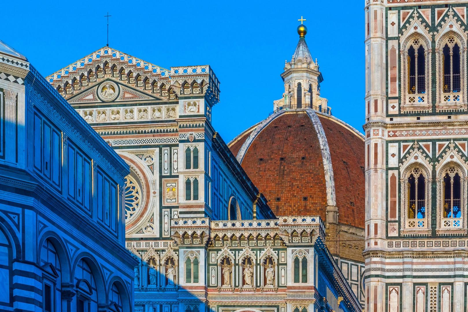 Brunelleschi's Dome crowns this world-famous architecture of the Cathedral, bell tower and baptistry.